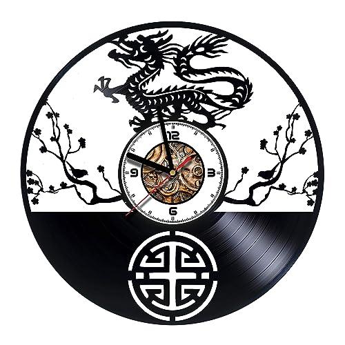 Amazon com: JAPAN - Dragons - Handmade Vinyl Wall CLock
