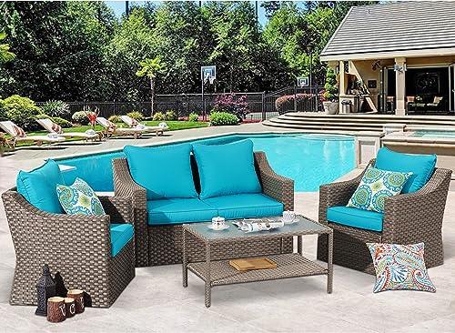 Stamo 5 Piece Outdoor Patio Furniture Conversation Set