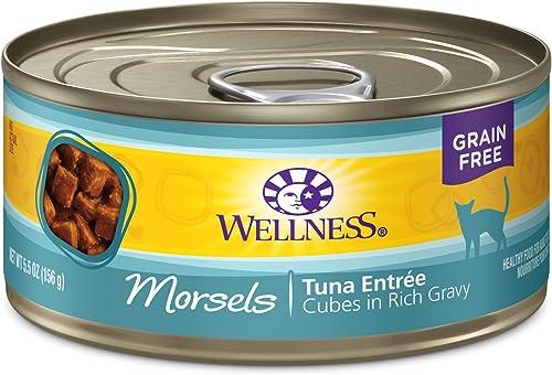 Wellness Natural Grain Free Wet Canned Cat Food Morsels Tuna