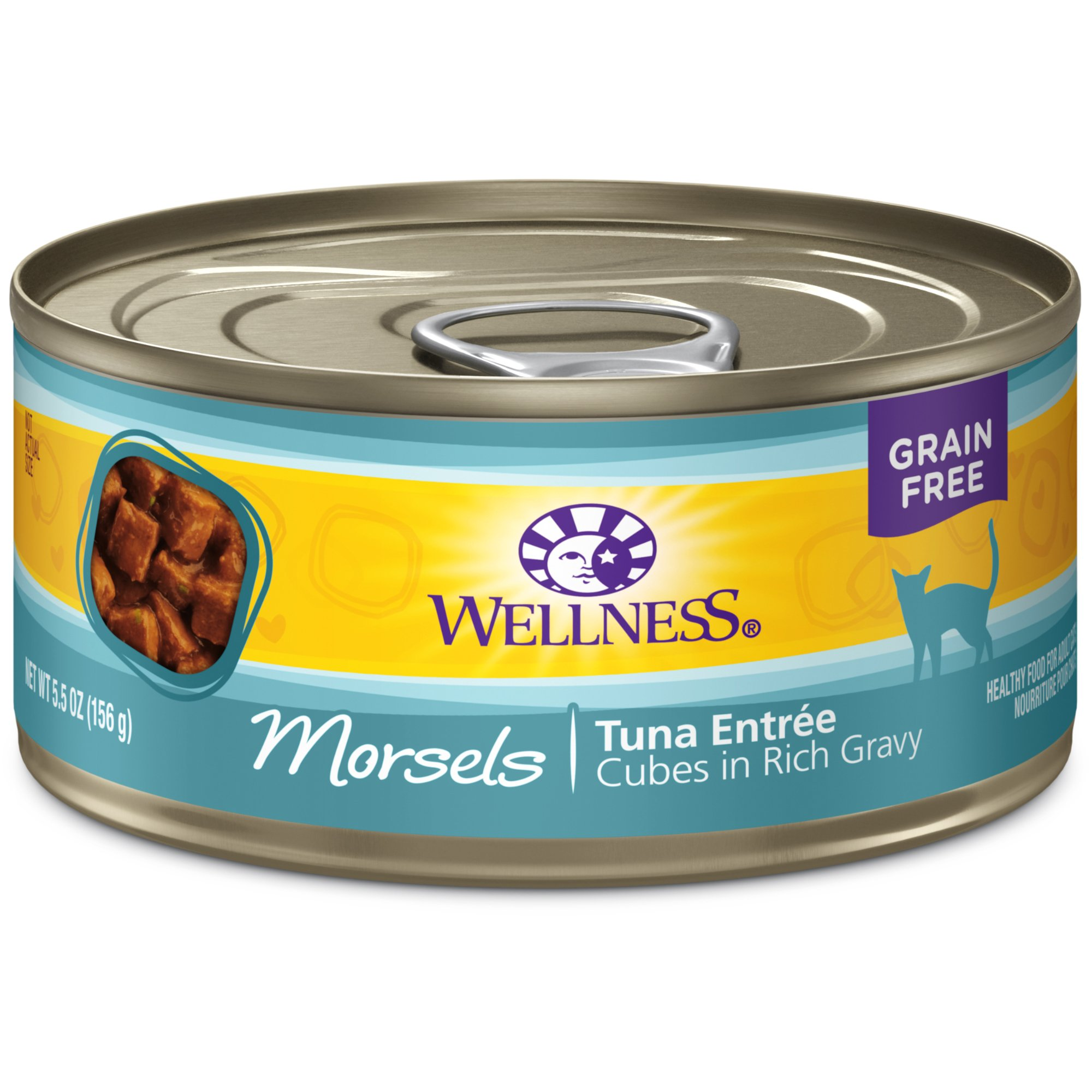 Wellness Complete Health Natural Grain Free Wet Canned Cat Food, Morsels Tuna Entrée, 5.5-Ounce Can (Pack Of 24) by Wellness Natural Pet Food