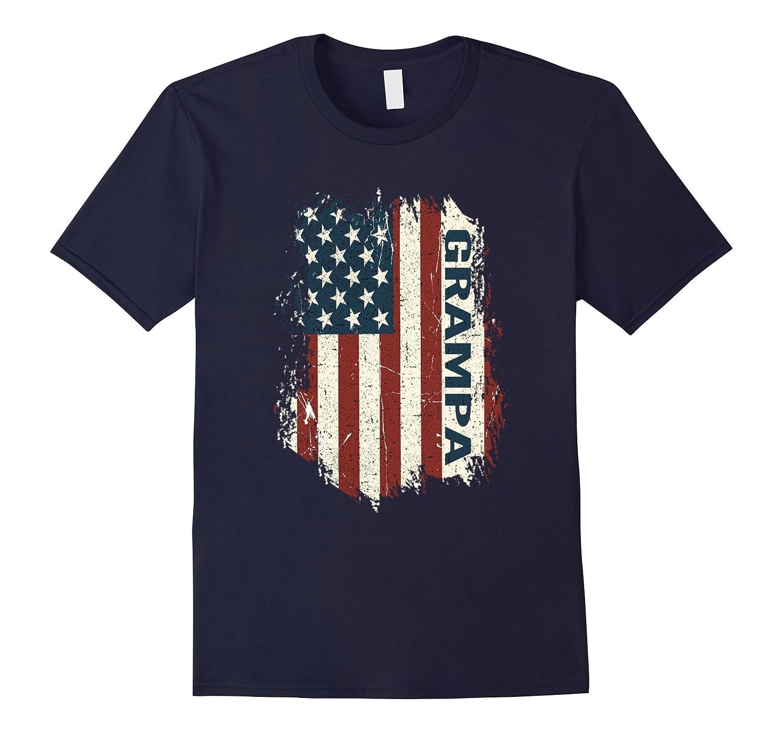 GRAMPA shirt - American Grandpa Flag Funny tshirt-Rose
