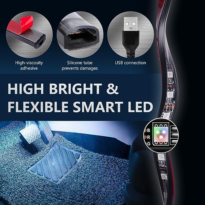 Autoinnenbeleuchtung 36 LED 7 Farben USB Auto-Streifenlichter Auto-Fu/ßraumbeleuchtung Drahtlose Fernbedienung Musik /& Sprachsteuerung LED-Lichter f/ür Autos