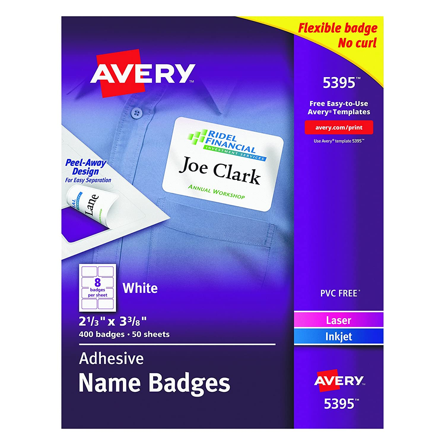 Amazon avery adhesive name badges 233 x 338 inches white amazon avery adhesive name badges 233 x 338 inches white box of 400 05395 white adhesive name badges office products pronofoot35fo Gallery