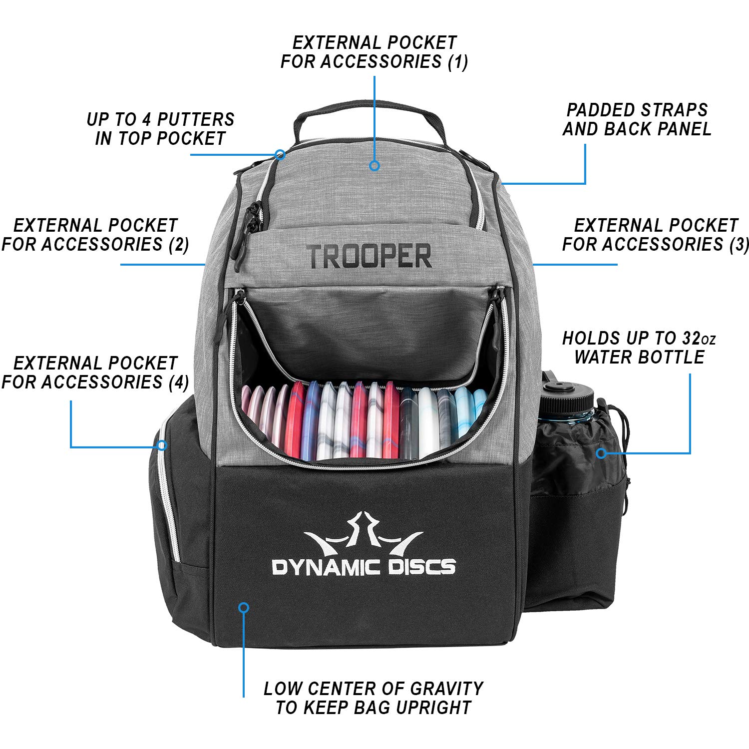 Dynamic Discs Trooper Disc Golf Backpack | Heather Gray | Frisbee Disc Golf Bag with 18+ Disc Capacity | Introductory Disc Golf Backpack | Lightweight and Durable by D·D DYNAMIC DISCS