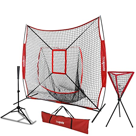 ZENsports 7 x 7 Baseball Softball Practice Hitting Pitching Net with Strike Zone Target and Bow Net Frame,Carry Bag,Batting Tee,Ball Caddy Net Batting tee Ball Caddy