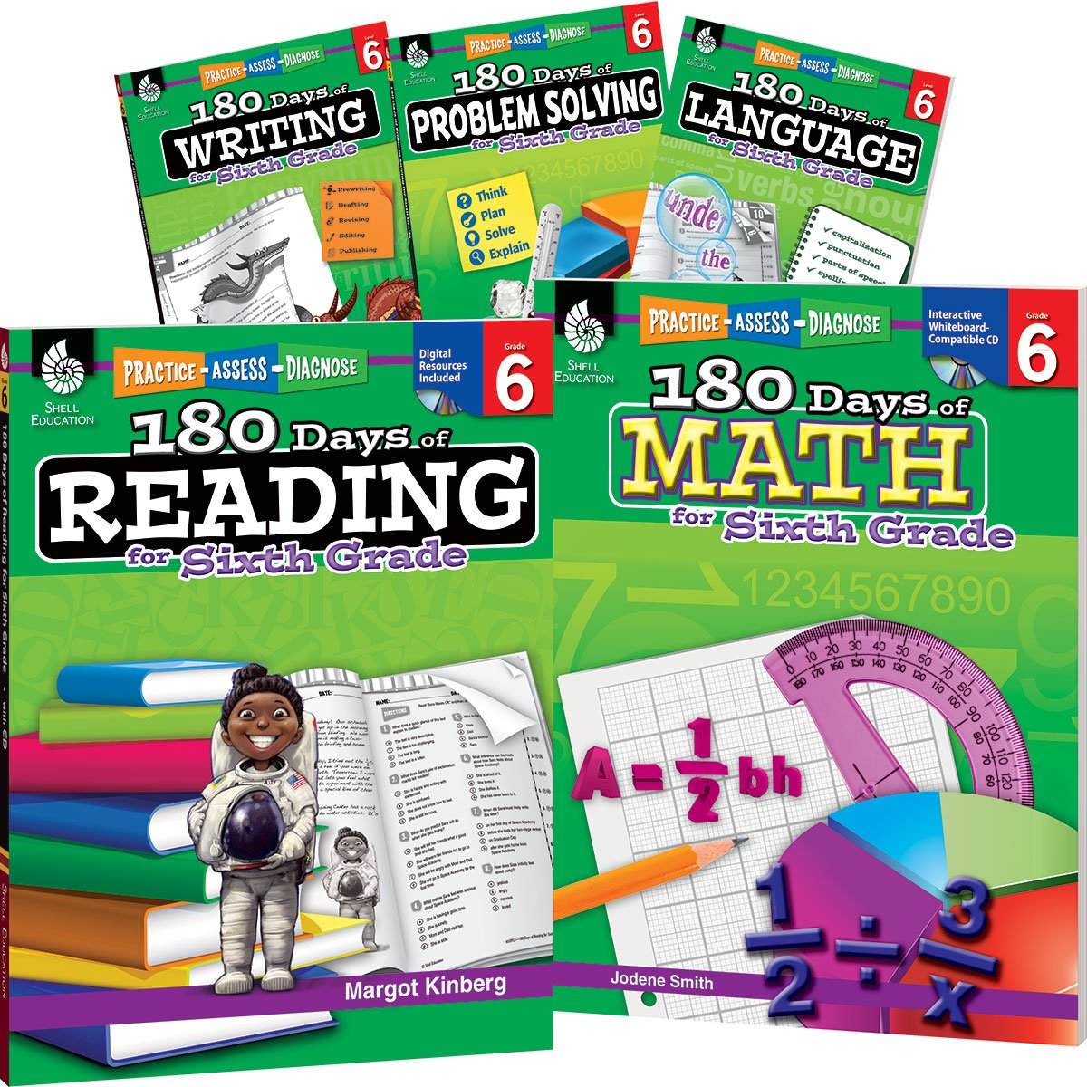180 Days of Sixth Grade Practice, 6th Grade Workbook Set for Ages 10 ...