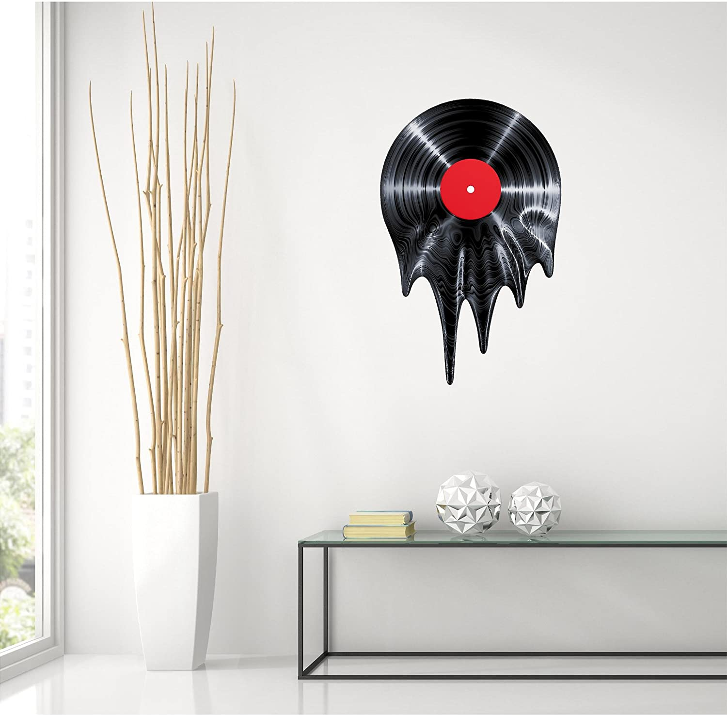 """24"""" Melting Record Wall Decal Vinyl Graphic 50's 60's 70's Music Tunes Radio Home Kids Room Man Cave Teen Bedroom Living Room Office Art Decor NEW"""