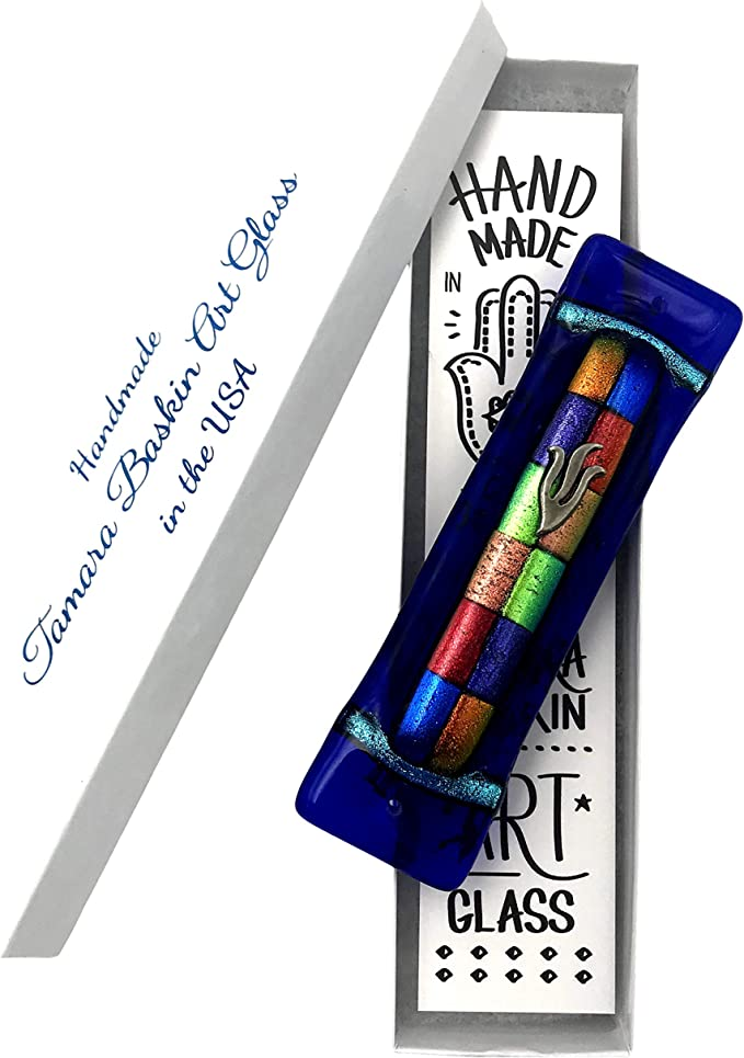 Ivory Gift Box and Non-Kosher Scroll Included Tamara Baskin Art Sparkling Jewel Tone Mezuzah Hand Made in The USA