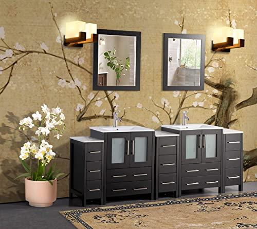 Vanity Art 84 Inch Double Sink Bathroom Vanity Combo Set 3 Side Cabinets 2 Shelves 13 Drawers Ceramic Top Bathroom Cabinet