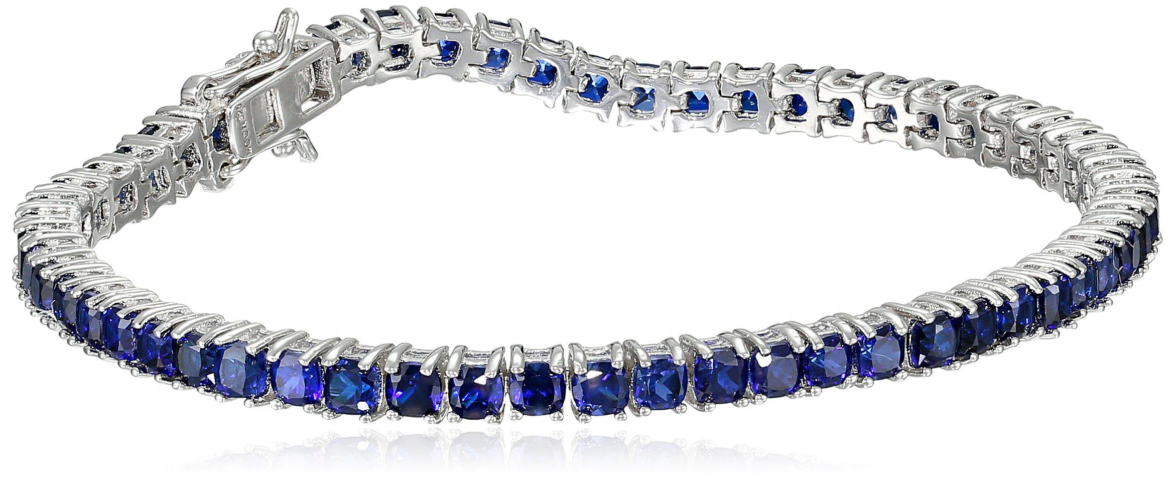 Created Blue Sapphire Cushion Cut Tennis Bracelet in Sterling Silver (3mm)