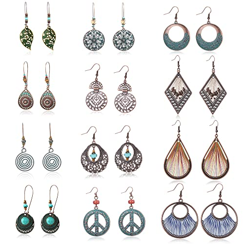 f39a03f13739d Besteel Bohemian Vintage Dangle Earrings Statement Hollow Boho Drop  Turquoise Pendant Hoop Earrings Set for Women Girls