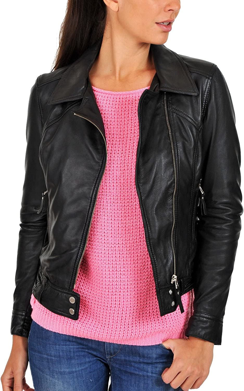 Kingdom Leather New Women Genuine Real Leather Jacket Ladies Slim Fit Biker Coat XW653