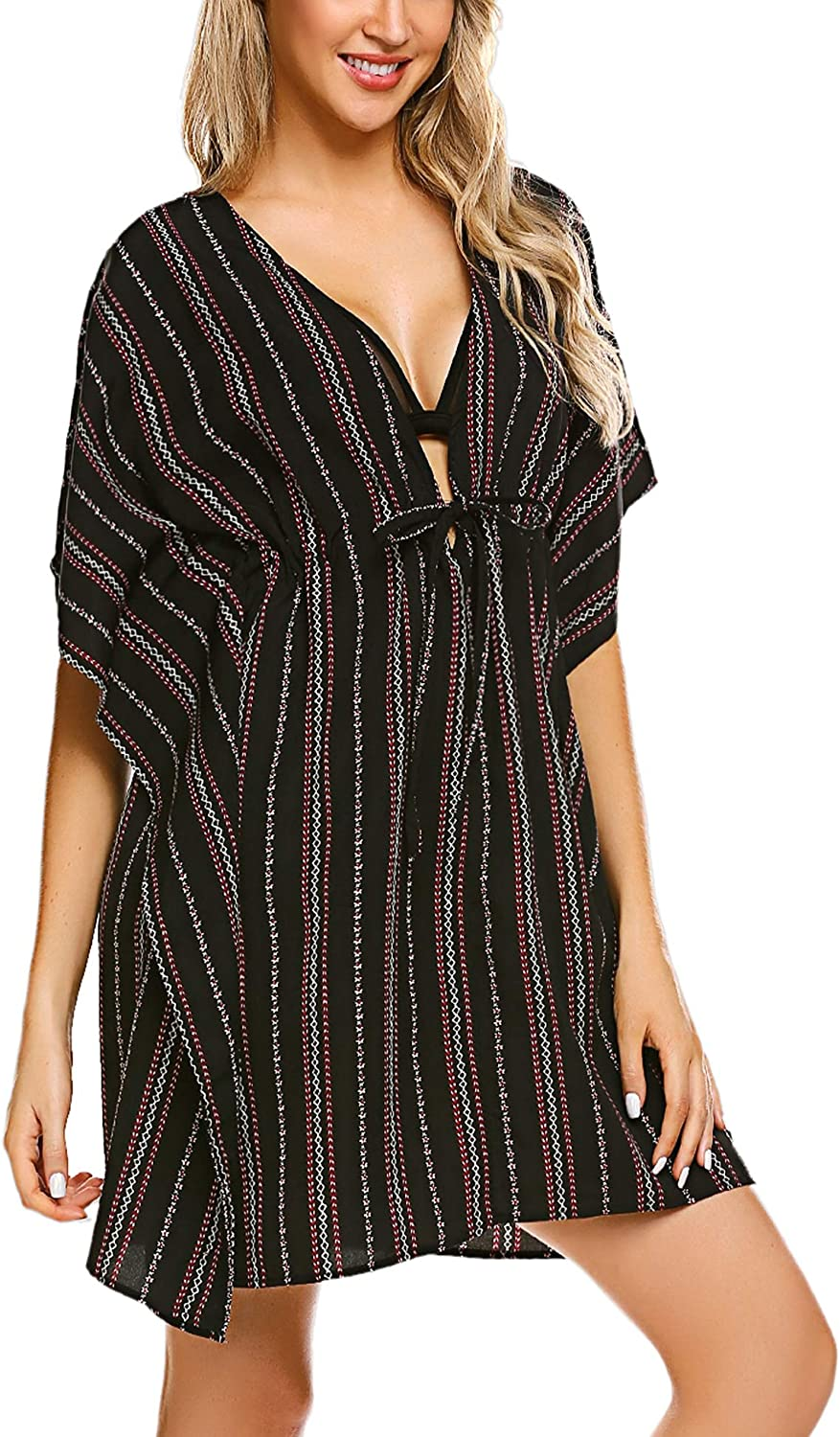 Adome Cover Ups For Swimwear Women Swim Coverup Oversized Striped Beachwear At Amazon Women S Clothing Store
