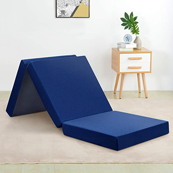 PrimaSleep 4 Inch Tri-Fold Memory Foam Topper/Sofa Bed/Guest Bed/Floor Mat (Single)