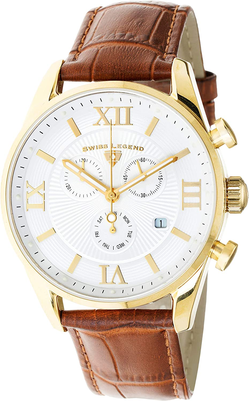 Swiss Legend Belleza 22011-YG-02-BR - Reloj analógico de Cuarzo Suizo para Hombre, Esfera Blanca y Caja de Acero Inoxidable Dorada con Correa de Piel marrón