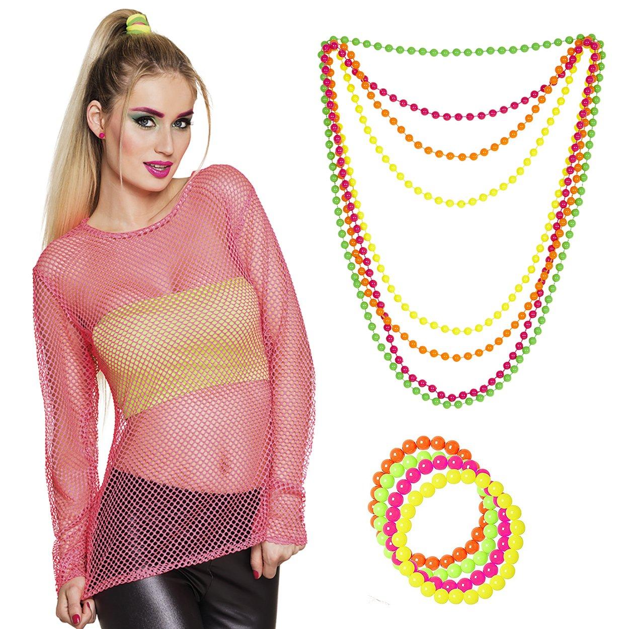 Netzshirt 80er Jahre Neonkleidung Netzhemd neon-pink mit Perlen ...