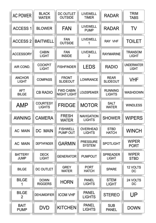 white marine boat dash board switch instrument panel decal sticker Automotive Instrument Cluster white marine boat dash board switch instrument panel decal sticker labels sheet light switch fuse description