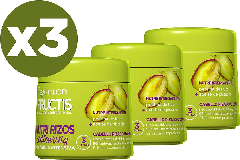 Garnier Fructis Nutri Rizos Mascarilla para Cabello Rizado u Ondulado - 3 x 300 ml: 900 ml