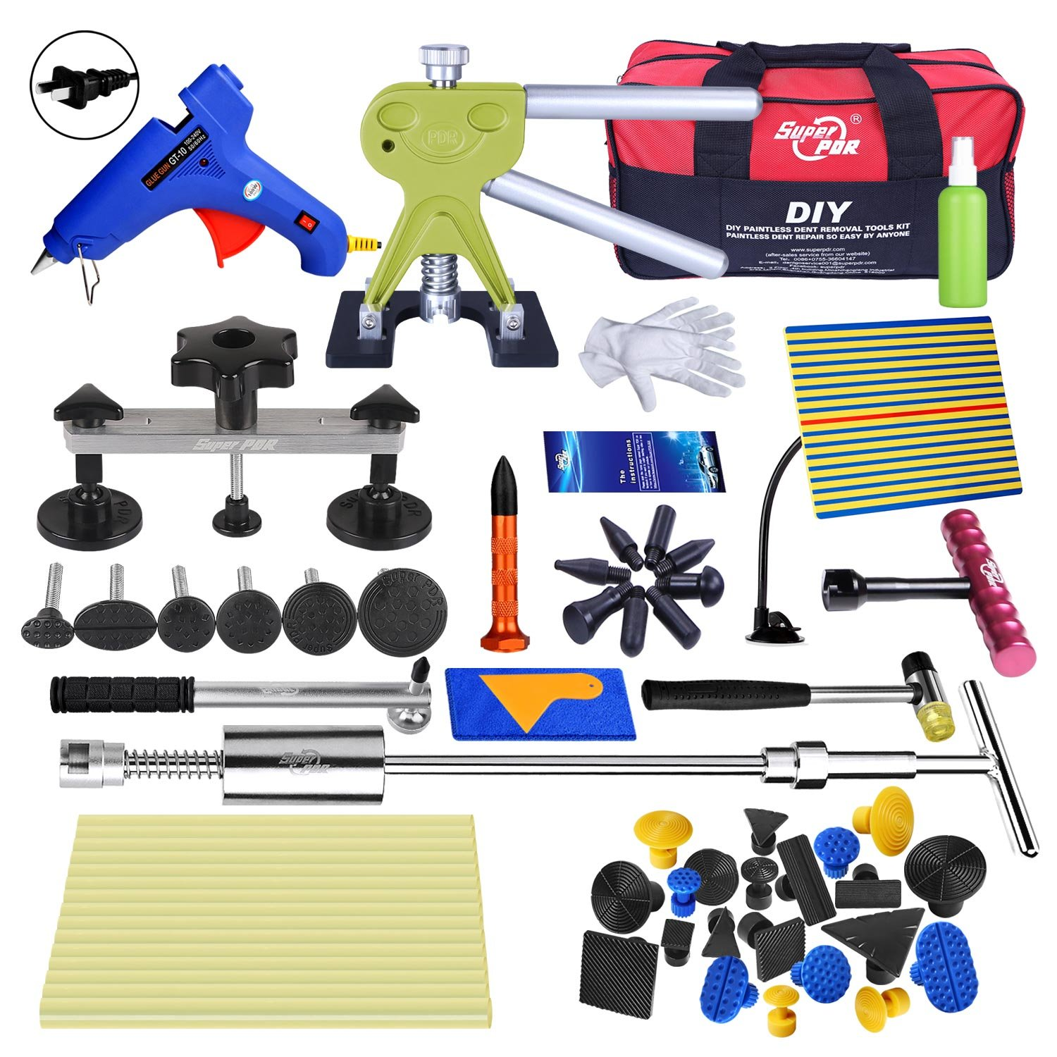 Fly5D Auto Dent Removal Kit with Tool Bag Dent Lifter Puller Tabs for Car Body Repair