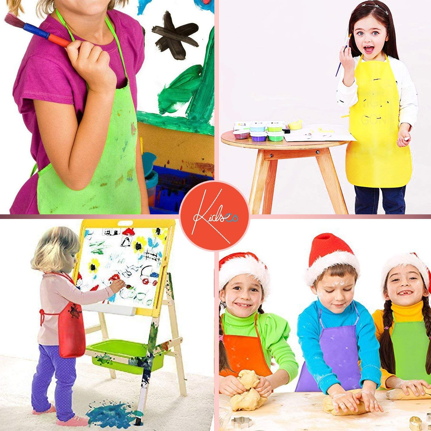 for Art and Baking Arts /& Crafts 13 X 19 Inches with 14 Inch Ties Assorted Colors Painting Activity Kicko Childrens Artists Fabric Aprons 12 Pack Classroom Great for Kitchen