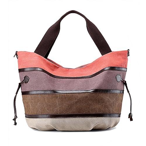 b50889d8c HeHe Alta Capacidad Multicolor rayas la lona de los totalizadores del bolso  de las mujeres Hobos y bolsos de hombro - naranja: Amazon.es: Zapatos y ...