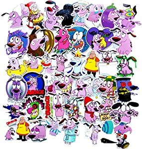Courage The Cowardly Dog Stickers 50pcs Decals for Laptops Water Bottles Toys and Gifts Cars Stickers Cartoon Anime Aesthetic Sticker Pack for Teens, Girls, Women(Courage The Cowardly Dog)