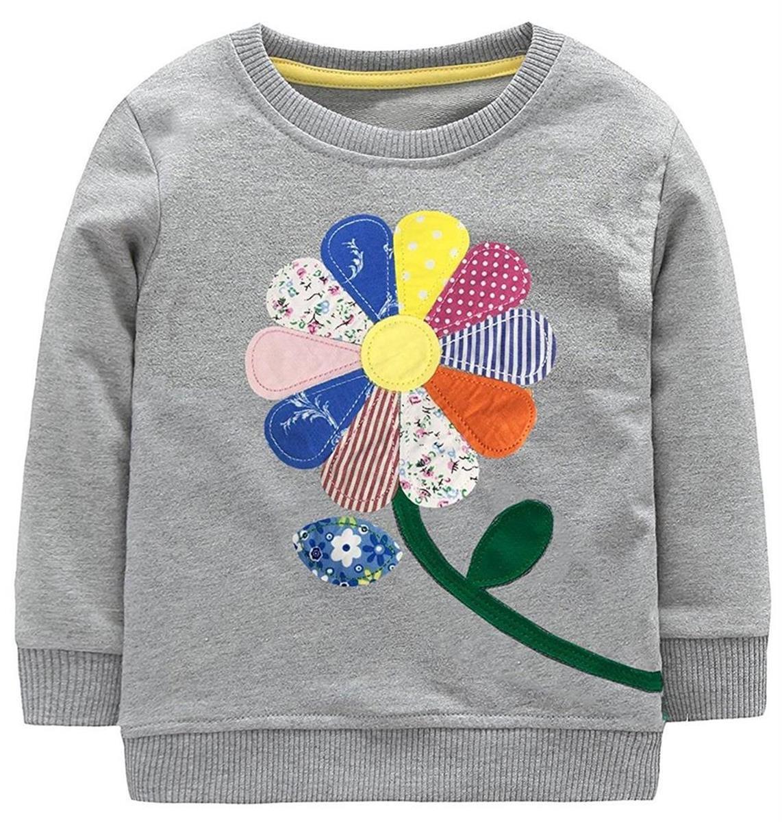 Guandiif Girl Cotton Sweatshirt Crewneck Pullover Cartoon Shirts Cute Long Sleeve Shirts Girl F 1-2 Years 110