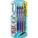 Pilot FriXion ball - Juego de bolígrafos de tinta de gel (no retráctiles, 4 unidades), color Negro, azul, rojo, verde