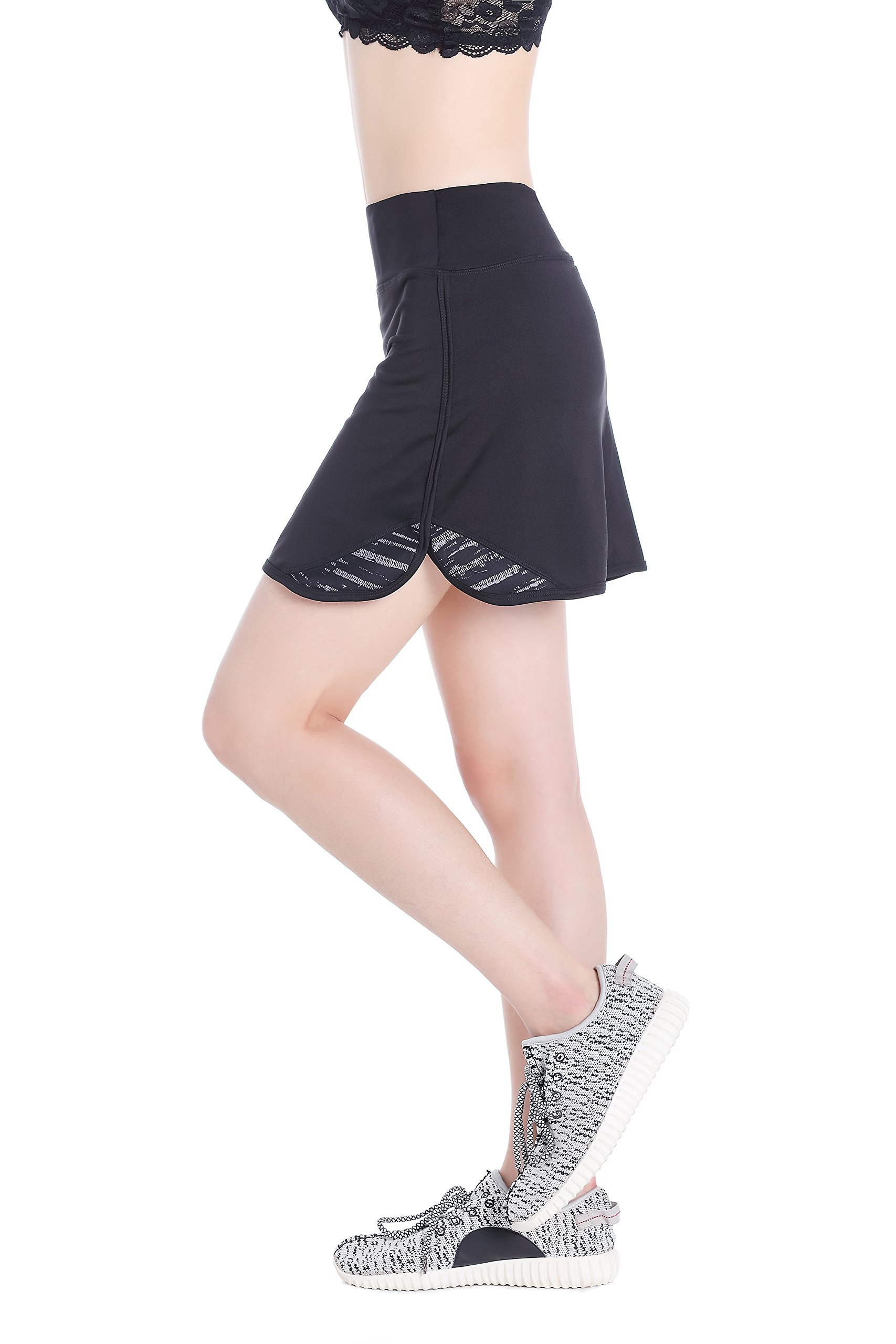 Annjoli Womens Running Skirt Casual Gym Tennis Skort for Workout, Golf, Gym (S, Black/Pattern)