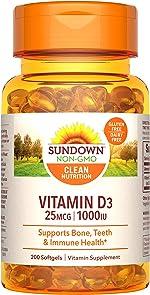 Sundown Vitamin D3 for Immune Support, Non-GMO, Dairy-Free, Gluten-Free, No Artificial