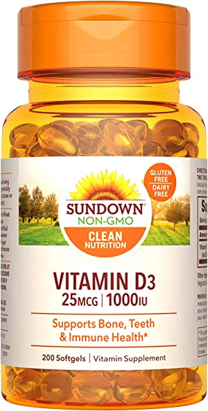 Sundown Vitamin D3 for Immune Support, Non-GMO, Dairy-Free, Gluten-Free, No Artificial Flavors, 25mcg 1000IU Softgels, 200 Count