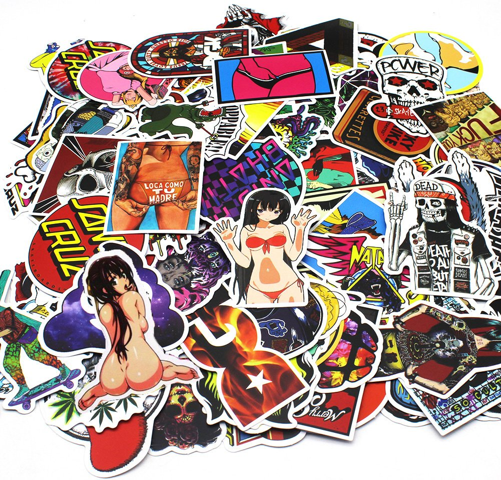 Nuoxinus car stickers 100 pcs waterproof graffiti vinyl stickers cool laptop stickers motorcycle bicycle luggage decal graffiti patches skateboard stickers