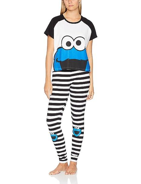 Sesame Street Missimo, Conjuntos de Pijama para Mujer, (Stripe 017), X