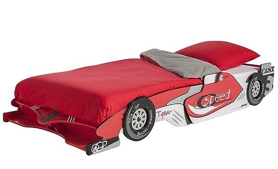 Cama Coche Juvenil en Color Rojo 215x99x35 cm para Dormitorio o habitacion Infantil o Juvenil somier no Incluido: Amazon.es: Hogar