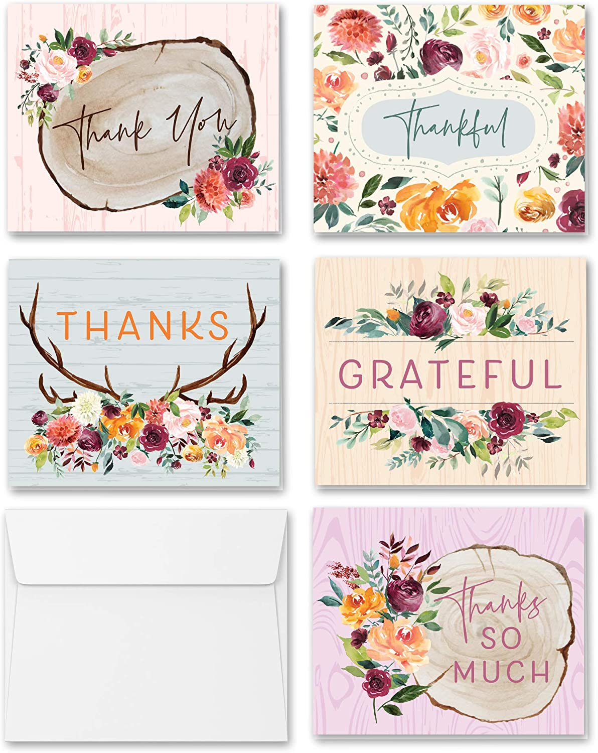 """Premium Rustic Thank You Cards - (25 QT) Shabby Chic Antler Farmhouse Floral 