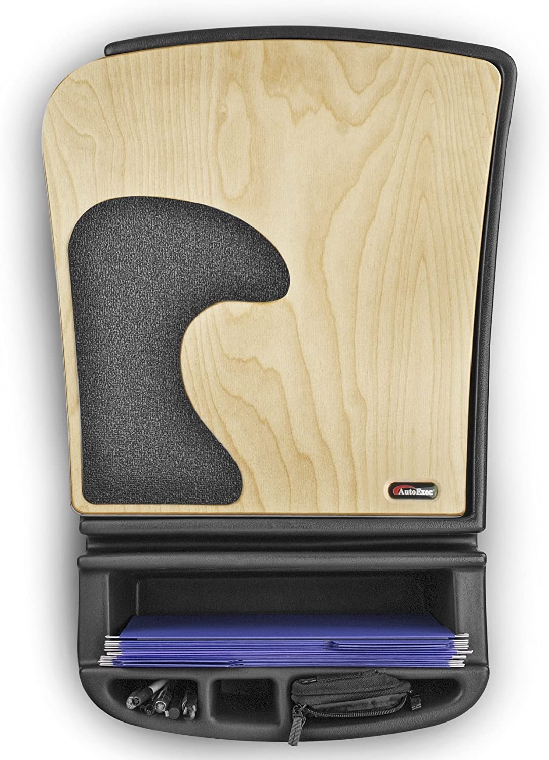 Mahogany Finish with Printer Stand /& Built-in Power Inverter AutoExec AUE24103 Built Stand Efficiency GripMaster Car Desk