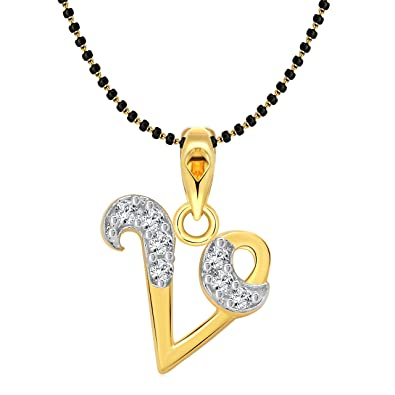 Vighnaharta initial letter v gold and rhodium plated mangalsutra vighnaharta initial letter quotvquot gold and rhodium plated mangalsutra chain pendant aloadofball Image collections