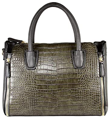 9e8c8bbbebd Image Unavailable. Image not available for. Color  Alligator Print Soft Faux  Leather Designer Tote ...