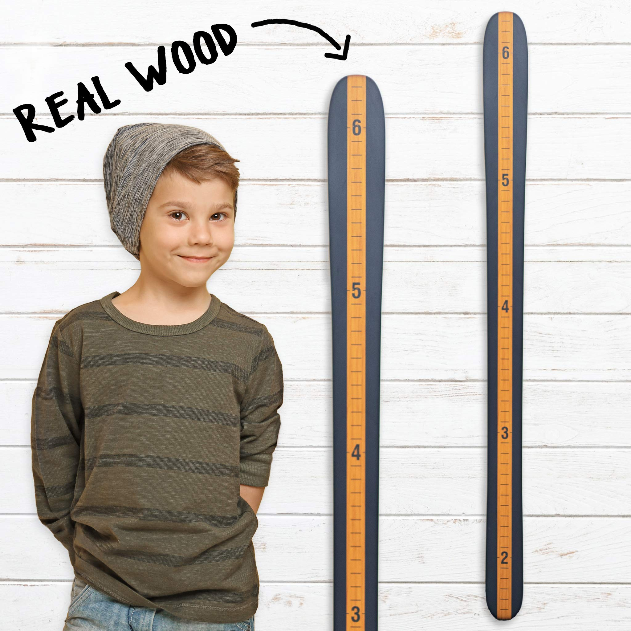 Growth Chart Art | Modern Vintage | Wooden Ski Growth Chart | Baby Skis | Ski Gifts | Wall Hanging Wood Height Chart for Measuring Kids, Children, Boys, Girl | Vintage Blue by Growth Chart Art