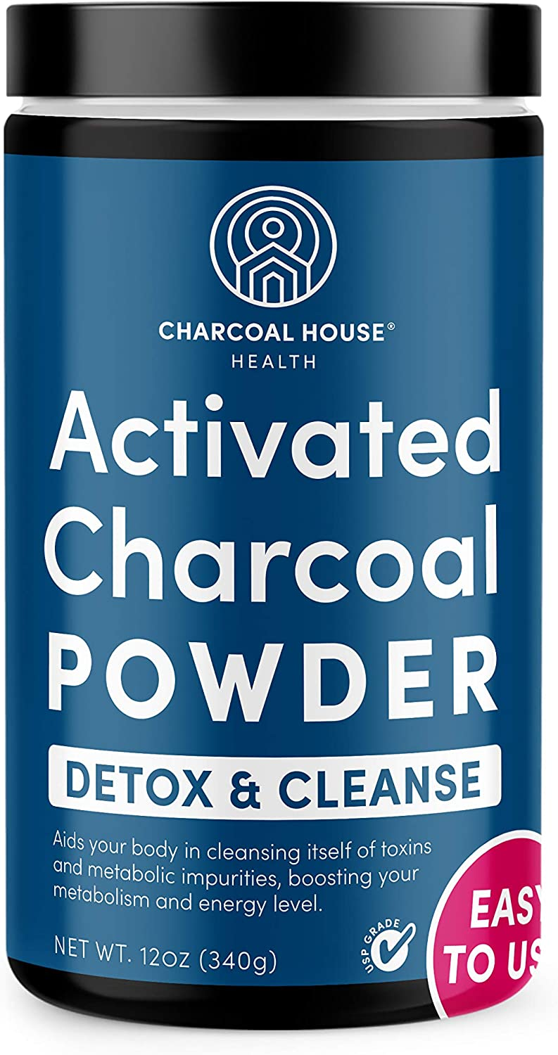 USP Medical Grade Coconut Activated Charcoal Powder by Charcoal House | Detox and Cleanse, High Adsorptive Capacity, Fast Acting, Poison Antidote, Stomach Bug Relief, Gas and Bloating Remedy,