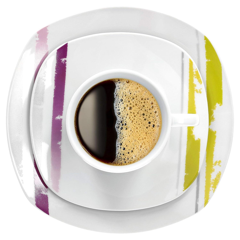 Kaffee-Gedeck I edles Porzellan I Gastro-Qualit/ät Van Well 30tlg I Speisetellerset Geschirrset Lucia I Kombiservice I festliches Tafelgeschirr f/ür 6 Pers