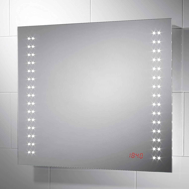 Millennium LED Bathroom Mirror with Digital Clock 700mm(W) x 600mm(H ...