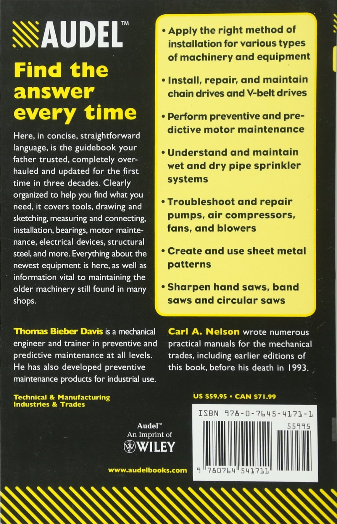 Audel Millwrights and Mechanics Guide: Thomas B. Davis, Carl A. Nelson:  8601419564408: Books - Amazon.ca