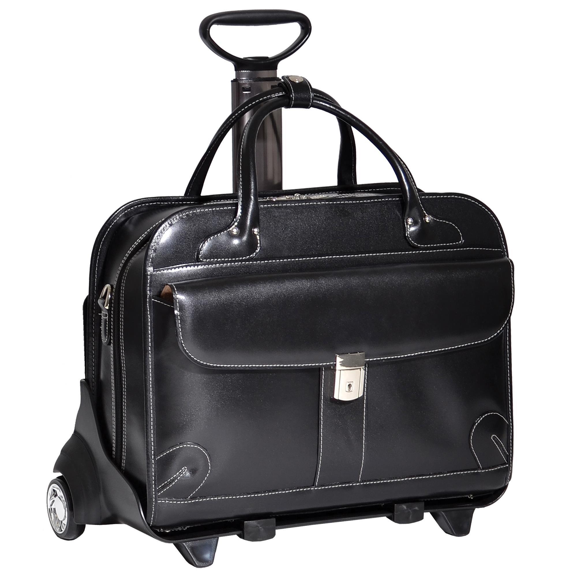 McKleinUSA LAKEWOOD 96615 Black Leather Fly-Through Checkpoint-Friendly Detachable-Wheeled Ladies' Briefcase