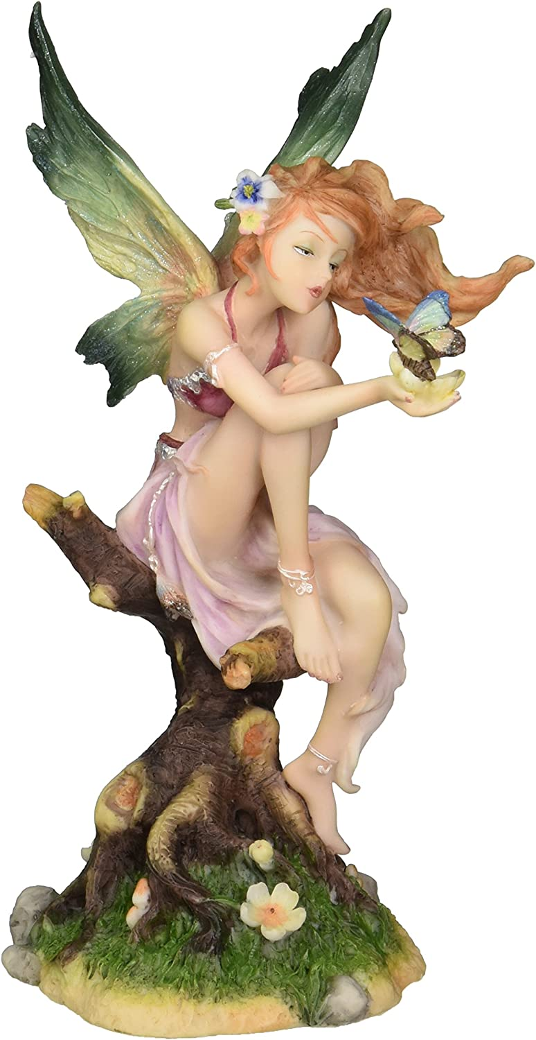 Design Toscano WU74368 Kiss of the Butterfly Fairy Figurine Statue, 8 Inch, Polyresin, Full Color