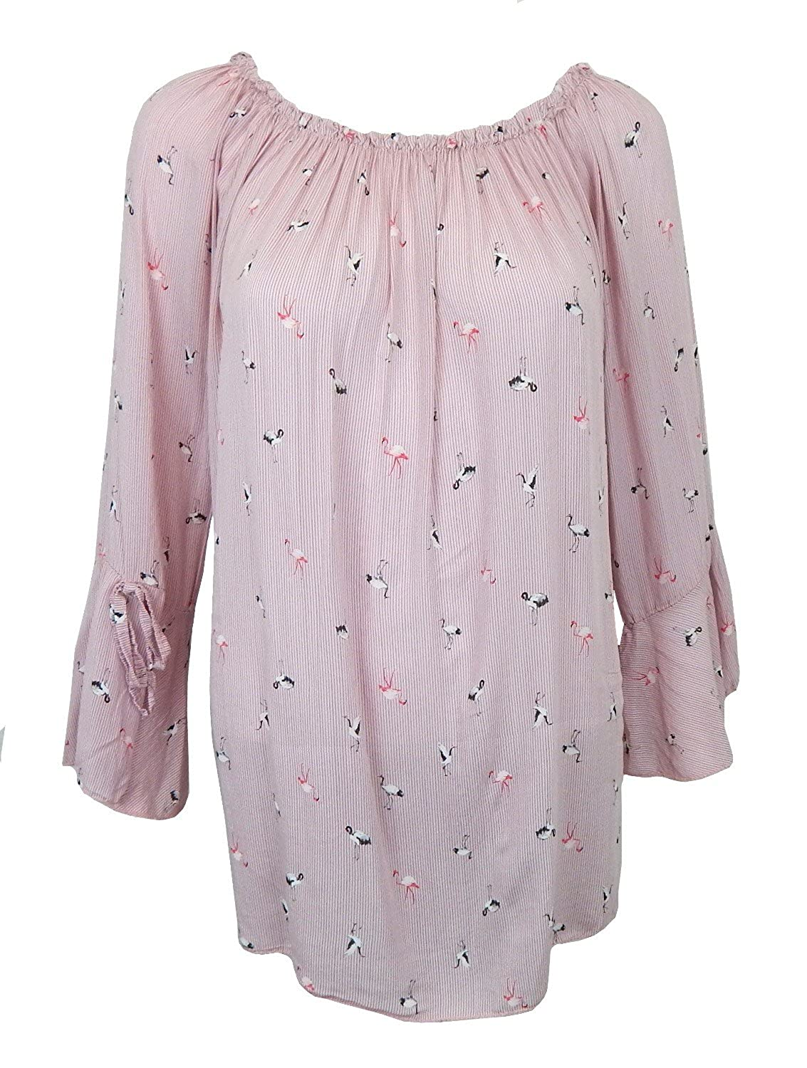 8fbf1cbf92c308 Bluse 38 40 42 S-M Flamingo Rosa Gestreift Made in Italy Volant Ärmel  Baumwolle Hot Sale