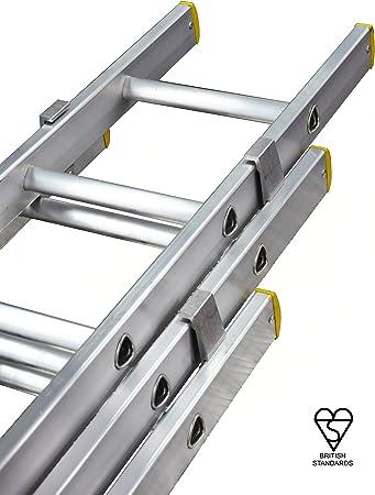 Escalera profesional GBX330 de 3 extensiones, de 3 m a 7m, 11 peldaños, de aluminio: Amazon.es: Bricolaje y herramientas