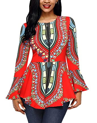08b6c8925f9d25 Amazon.com: Vanbuy Women Long Sleeve African Print Blouse Peplum Top Shirt:  Clothing