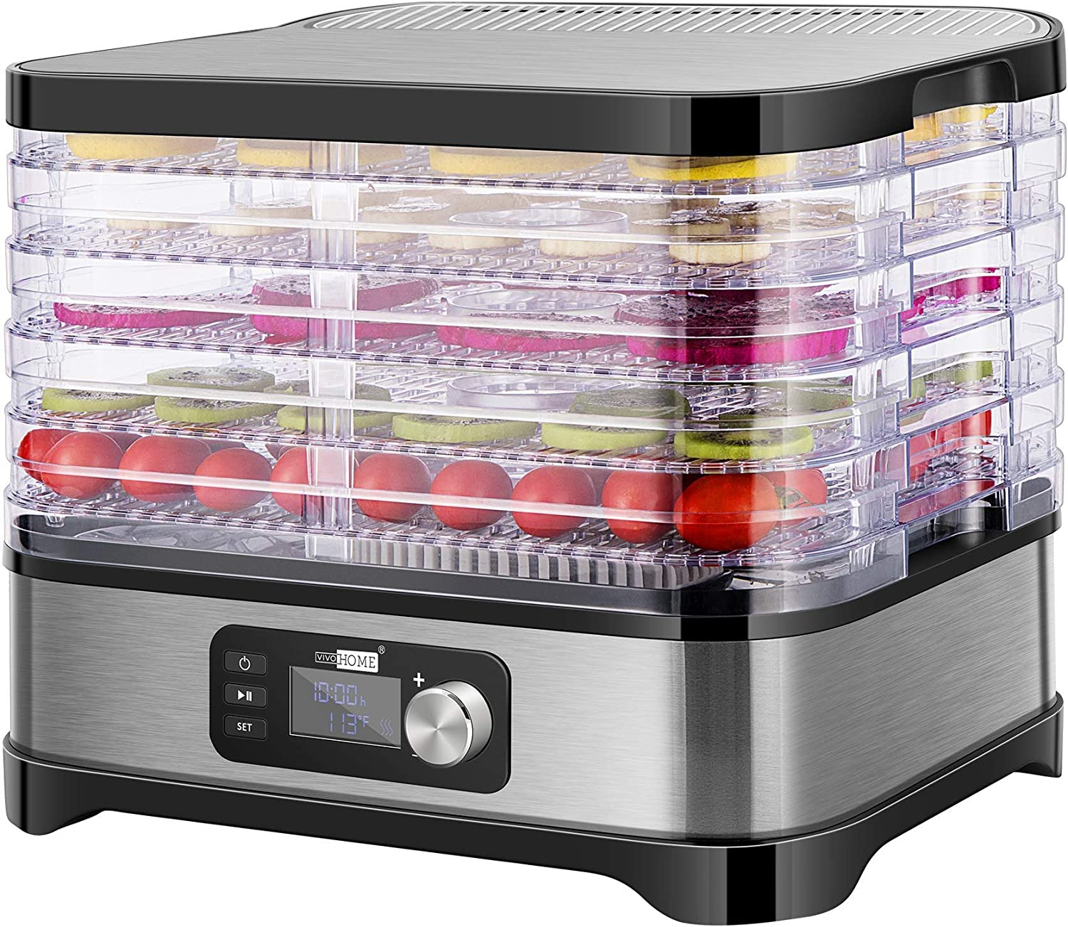 VIVOHOME Electric 400W 5 Trays Food Dehydrator Machine with Digital Timer and Temperature Control for Fruit Vegetable Meat Beef Jerky Maker BPA Free (Renewed)