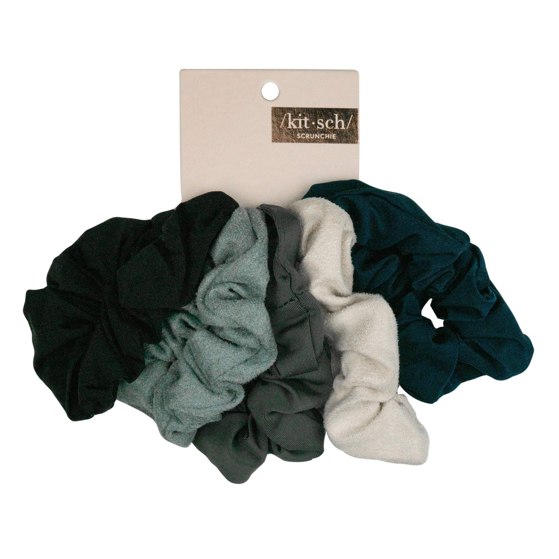 Kitsch Matte Scrunchies for Hair, Hair Scrunchies for Women, Scrunchy Hair Bands, 5 Pack (Black/Gray)